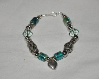 I Love You - Silver and Aqua Beaded Bracelet