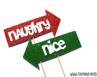 Holiday Props - Naughty and Nice Arrows - Naughty or Nice Signs