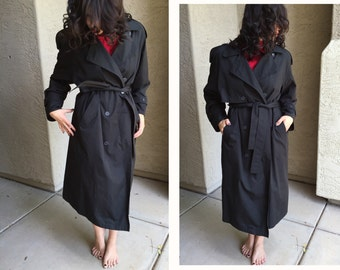 London Fog trench coat Towne All-Weather lined vintage raincoat size 8 petitie duster winter coat overcoat black removable wool liner