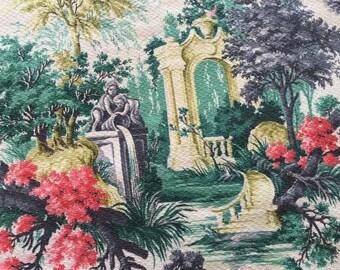 "1940s barkcloth curtain fabric panel floral neoclassical Grecian deep South Florida teal coral charcoal green 44"" x 37"" cherubs fountain"