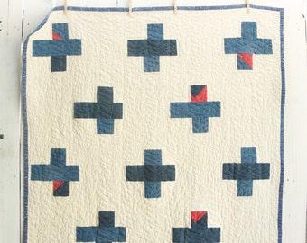 Heirloom Quilt, Organic Cotton Quilt, Fiber Art Quilt, Indigo Bonus, Throw Quilt, Plus Sign Improv Quilt