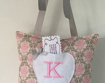 Tooth Fairy Pillow / Pink & Grey