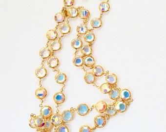 Signed Swarovski Crystal Necklace Bezel Set Aurora Borealis Rainbow Finish Vintage Designer Fashion Jewelry