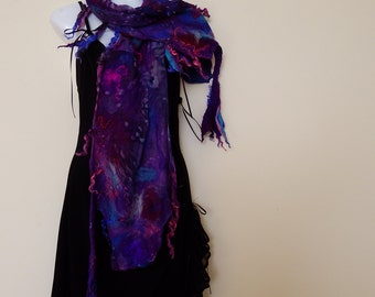 Nunofelted sarf, purple, dark blue, funky scarf, ultramarine,eye-catching, abstract disign,for her,wearable art, hign fashion, textile scatf