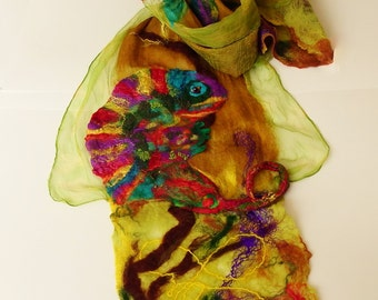Chameleon shawl, Iguana scarf, green, brown, reptile design, multicolored, nunofelted scarf, wearable art, wedding, prom, for her, unique