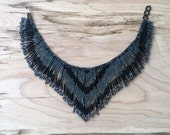 Fringe Necklace / Beaded Necklace / Collar / Choker / Statement Necklace / Tribal Jewelry / Guatemalan / Boho / Ethnic / Silver-Black