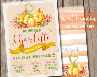 Pumpkin invitation, Printable Pumpkin invite, little pumpkin theme, Pumpkin Birthday party