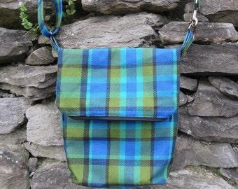 Blue Westfalia Plaid Messenger bag, with fold over top.