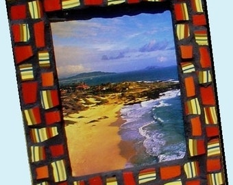 Mosaic Picture Frame Red Stripes