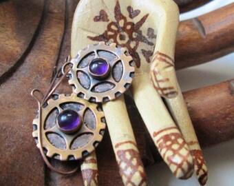 Copper Steampunk Cog Wheel Gear Dangle Earrings with Purple Amethyst Centers Jewelry