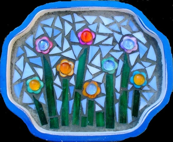 Mixed Media Stained Glass Mosaic Art Field of Flowers Tray