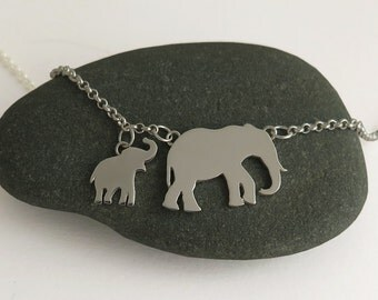 Elephants Necklace - Mother & Baby Pendants - Gift For Mom - Unique Sterling Silver Jewelry