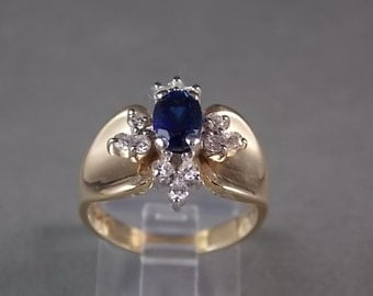 1980s Blue Sapphire and Diamond Ring 1.38Ctw Yellow Gold 6.8gm Size 7.75 Wedding Engagement