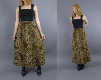 1960s Fuzzy Faux Leopard Furry Maxi Skirt by Sloat New York 29 waist 30 waist M/L