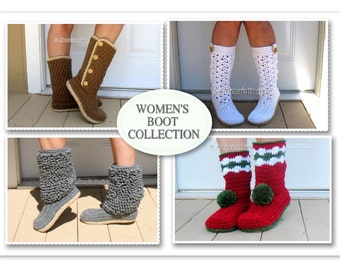 Pattern Pack for FOUR Women's Boots Crochet Patterns - Crochet Pattern Crochet Slippers Boot Crochet Pattern Adult Winter Boots Pattern Sale