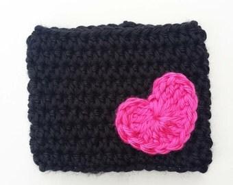Crochet Heart Coffee Cup Cozy Black and Pink Reusable Coffee Mug Sleeve