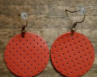 Burt Orange Leather Circle Earring