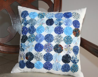 Shabby Chic Cottage Inspired 49 Yo-Yo's or Rosette Decorative Accent Pillow Handmade Original Design Shades of Blue Colors