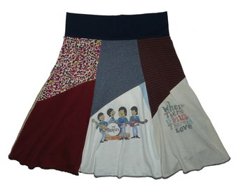 Sale The Beatles Women's Small Medium Upcycled Hippie Skirt recycled t-shirt clothing from Twinkle