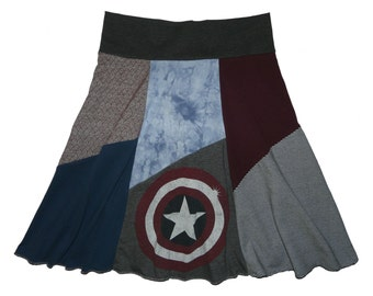 Captain America Women's Medium Large Hippie Skirt upcycled clothing from Twinkle