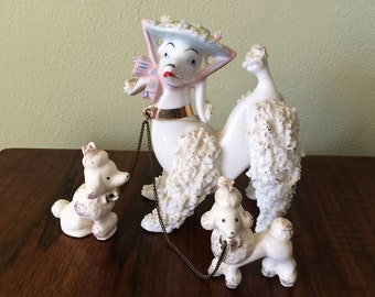Vintage 1950s French Poodles set 1950s MCM Midcentury Rockabilly Boudoir Bedroom Bathroom Home Decor White Spaghetti Ceramic Pink Bow Hat
