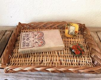 Vintage Woven Basket Tray