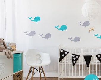 Peel and Stick Whale Wall Decals   Long Life   Apartment Safe - APT007