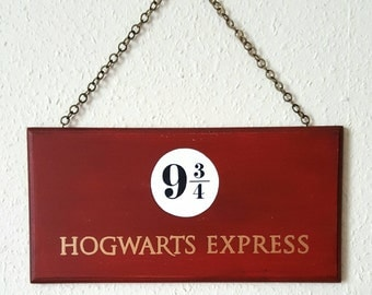HOGWARTS EXPRESS Sign Hand Painted Wooden Sign Wall Art Platform 9 3/4 Harry Potter Fan Gift