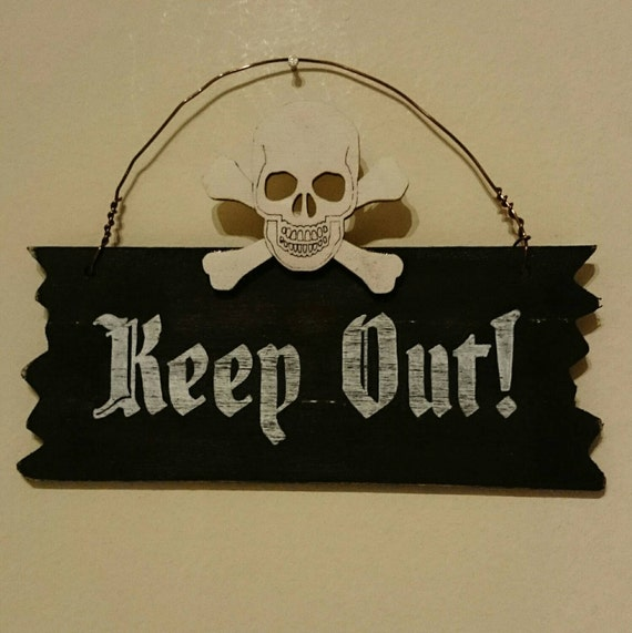 pirate keep out wooden hanging sign door sign bedroom sign skull and