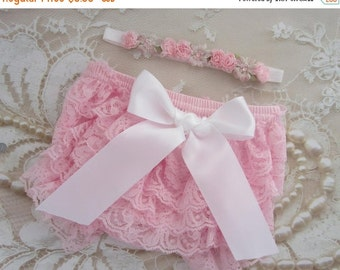SALE 25% OFF - Pink or White Lace Bloomers with choice of bow color AND/Or Halo Floral Headband, newborn photos, by Lil Miss Sweet Pea Bouti