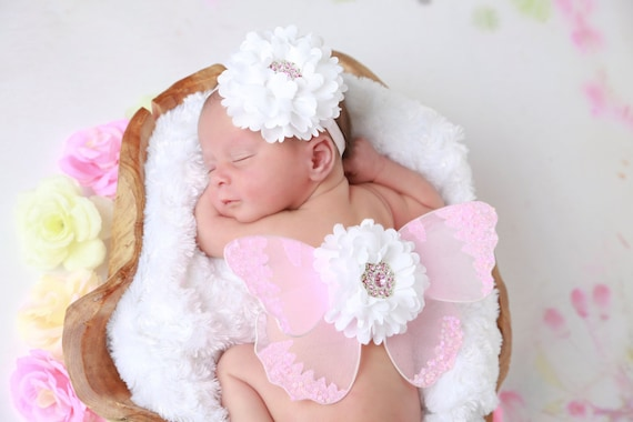 Butterfly wings in pink for newborn AND/OR matching flower headband, newborn photos, photoprop, newborn photographers, headband, pink hearts