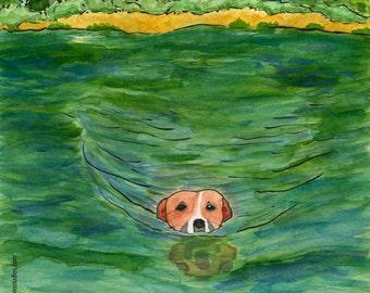02-110. happy swimming dog art print