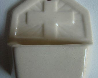 French White Earthenware Holy Water Font with the Cross