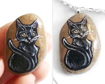 Black Cat Necklace, Pet Pendant, Halloween Jewelry, Hand Painted Rock, Beach Stone, Pet Owner Gift, Pet Memorial, Rock Art, Cat Painting