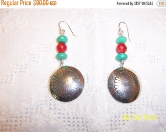 20 OFF EVERYTHING Vintage Chrysocola and red coral, native Indian earrings. Sterling silver.