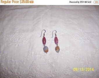20 OFF EVERYTHING Vintage Rhodonite, Blue lace agate, dangle earrings. Sterling Silver.