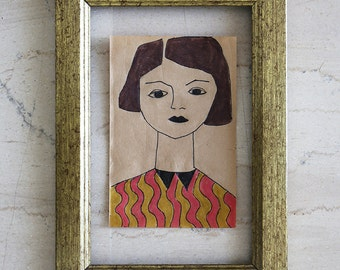 Girl Drawing - Original Retro Illustration - Cheap Art - Brown Paper - Small Format Original Art - Affordable art - Art Deco - Avant Garde