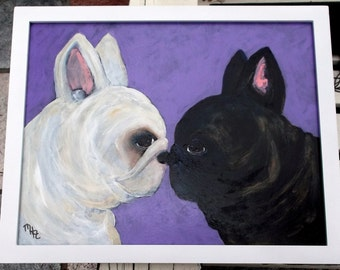 French Bulldog Art Painting, Signed Original, 11 x 14, Dog Art, Framed,White,Cream,Brindle,Black