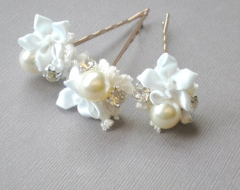 Whimsical BRIDAL Hair Pins. Flowers and Rhinestone Hair Jewelry. GIFT . Hair Pins. Prom. Bride Maids. Shower Gift. Flower Girl