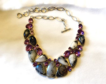 Merlinite and Alexandrite Necklace - 250 Plus Carats - 925 Sterling Silver - Statement Necklace