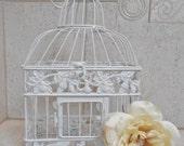 ON SALE Small White Birdcage Card Holder / Wedding Card Holder / Wedding Card Box / DIY Wedding / Diy Birdcage / Wedding Supplies