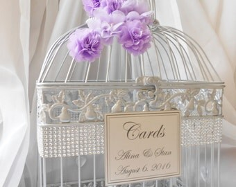 Silver And Purple Wedding Birdcage Card Holder