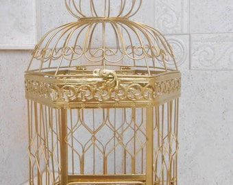 XL Gold Wedding Birdcage Card Holder / DIY Wedding / DIY Birdcage / Extra Large Birdcage / Gold Birdcage