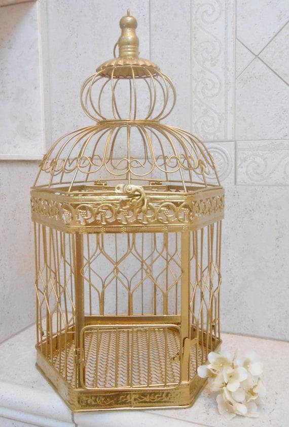 Xl gold wedding birdcage card holder diy