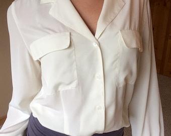 Vintage 90s Christian Dior Button Down Sheer Cream Blouse