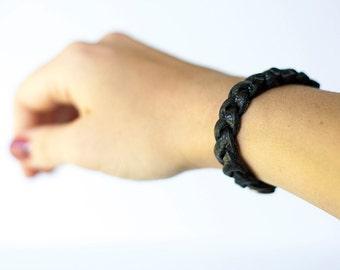 Braided Leather Bracelet / Noir Black
