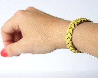 Braided Leather Bracelet / Fresh Citrus