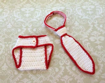 Crochet baby diaper cover and neck tie set, size newborn - an adorable photo prop set, available now