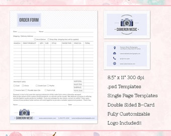 Order Form, Business Card Templates for Photographers, Business Forms, Marketing, Photoshop Templates