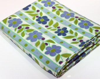 Retro Blue Green Floral Bed Sheet